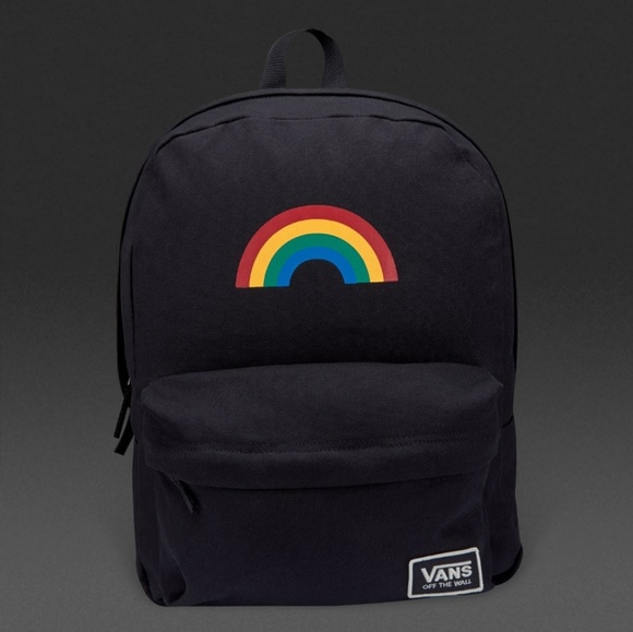 New Vans Realm Classic Rainbow Backpack in Black 3be7b579162ed